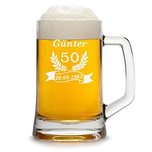 Leonardo–Jarra de cerveza con grabado personalizado, 0,5 Liter Glas