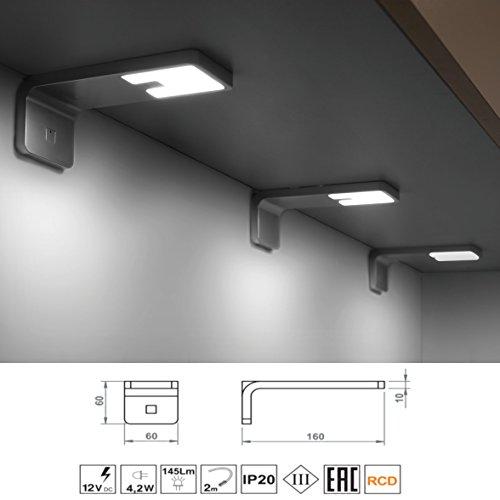 Möbel89 - LED Unterbeleuchtung für Küchen / 12V / 4,2 Watt / 145 lm / IP20 / Küchenlampe zur Beleuchtung der Arbeitsfläche / LED Lampen, 3x LED-Lampe