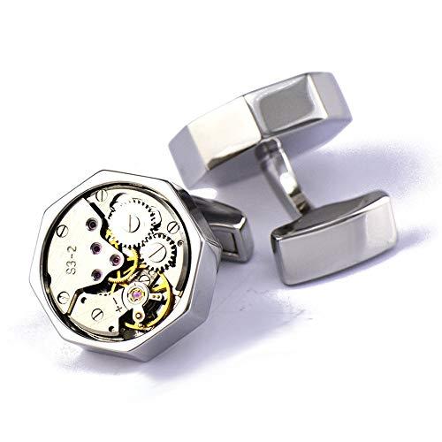 AdorabCufflinks Reloj mecánico con Movimiento Octagonal Reloj mecánico Gemelos botón Plateado