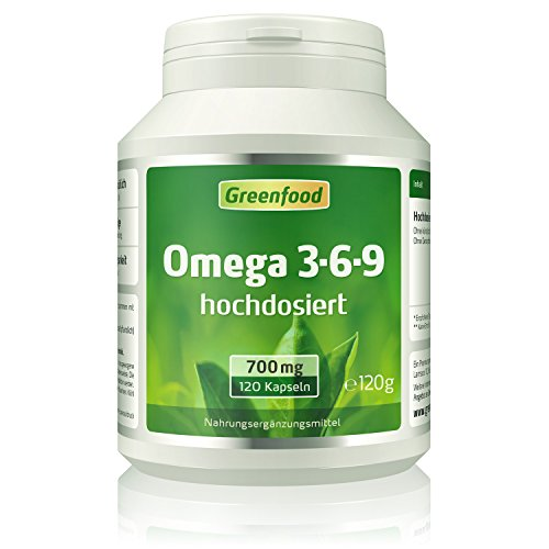 Omega 3-6-9, 700 mg, hochdosiert, 120 Softgel-Kapseln - reich an EPA, DHA. Gut für Herz, Kreislauf und die Cholesterinwerte. Fördert die geistige Leistungsfähigkeit. OHNE künstliche Zusätze. Ohne Gentechnik.