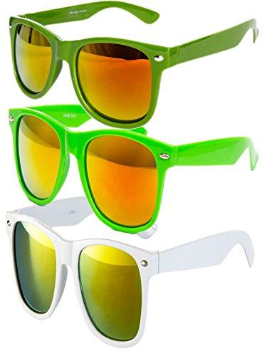 3 er Set EL-Sunprotect Sonnenbrille Nerdbrille Brille Nerd Feuer Verspiegelt Grün Neongrün Weiß