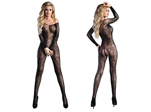Livia Corsetti ABRA Bodystocking sexy Netz Catsuit Overall langarm offen im Schritt