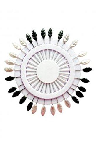 Épingles pour foulards Lot 1 roue Noir & Blanc & 1 feuille Head Xtra roue multicolore Long broches - 60 30 x 2 épingles Par Trendz