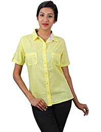 Old Khaki Solid Cotton Casual Partywear Shirt Women's Girls Shirt with Swaroski Stones on The Double Pockets in Lemon Yellow Color with Contrast & Free Shipping