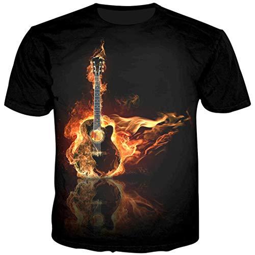 Kostüm Asian Männlich - Männer 3D T-Shirts Feuer-Gitarren-Druck-T-Shirts Männliches Hip Hop-T-Shirt Hipster Summer Tops As Show Asian Size L