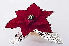 Idea Regalo - stella di natale fatta a mano in porcellana stile Capodimonte su foglie in peltro argentato