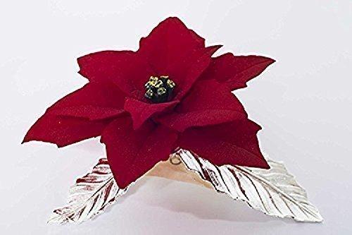 Stella Di Natale In Casa.Stella Di Natale Fatta A Mano In Porcellana Stile Capodimonte Su Foglie In Peltro Argentato