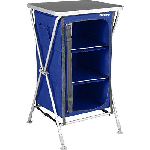 Berger Caming Faltschrank Klappbox Pablo S, blau, 3 Staufächer, höhenverstellbare Füße