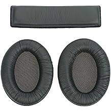 WEWOM set de almohadillas de repuesto para cascos Sennheiser HD180, HD201 y HD201S, con 2 almohadillas para las orejas y 1 para la cabeza