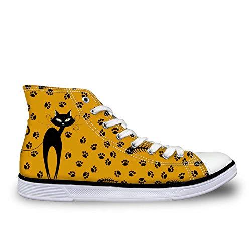 MLULPQ& Lovely Cat Hi Tops Plimsolls Women Girls Canvas Sneakers Flat Designs Halloween orange+Footprint UK 2 (Halloween Watch Online 2)