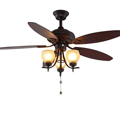 Ventilador de techo americano Luz de ventilador chino Lámpara de ventilador de hoja de madera antigua...