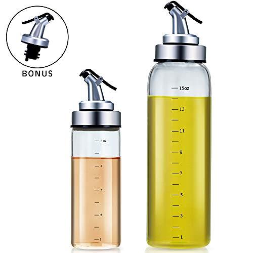 Bottiglia di olio d'oliva – Agvincy, Bottiglia per Condimento per Insalata, Aceto, Salsa di Soia, Contiene 2 Bottiglie di Vetro, Una di 17 e Una di 6 Once