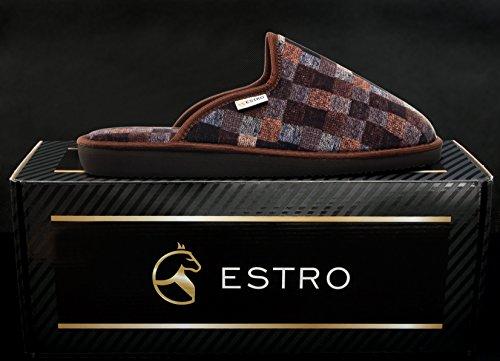 ESTRO Magic Cuir de Luxe Chaussons Hommes Brun