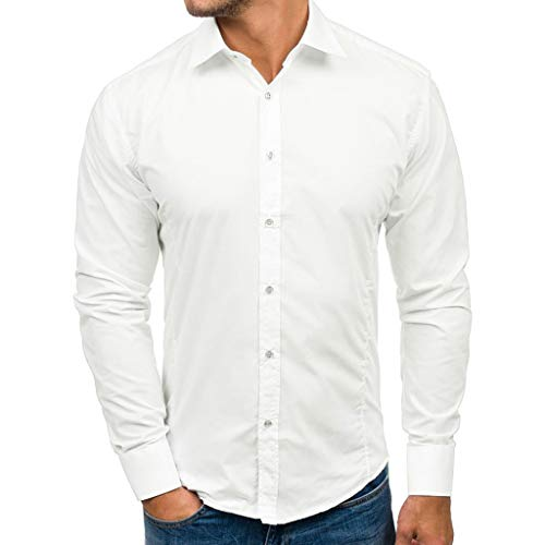 Herren Casual Solid Color Fashion Slim Revers Einreiher Hemd Langarm Top(Weiß,XL)