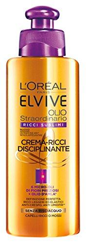 Elvive L'Oréal Paris Elvive Olio Straordinario Ricci Sublimi, Crema-Ricci Disciplinante - 200 ml