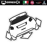 erreinge Sticker Compatibile per Peugeot 208 Down out Dub JDM Tuning Adesivo Sagomato in PVC per Auto Lunotto Finestrino - cm 35