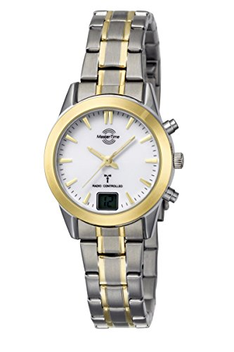 Master Time Funk Quarz Damen Uhr Analog mit Edelstahl Armband MTLS-10456-11M