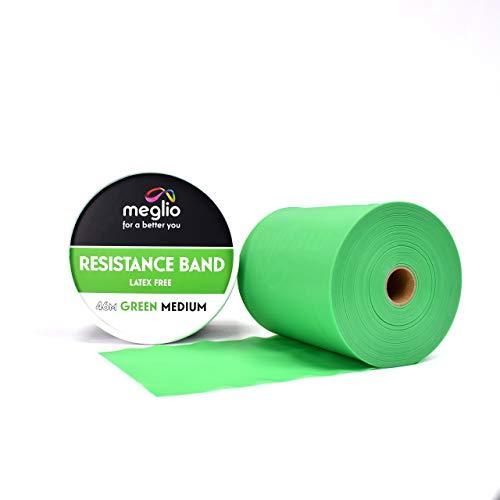 meglio latexfreies Widerstandsband 46 Meter Rolle – Übungsband – 5 Widerstandsniveaus verfügbar – extra-leicht, leicht, medium, schwer, und extra-schwer