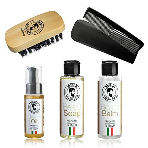 Bartpflegeset Öl 50 ml + Spülung 100 ml + Seife 100 ml + Bartbürste + Schnurrbartkamm -