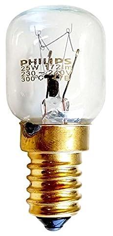 PHILIPS 25 WATT E14/SES OVEN LAMP LIGHT BULB 300 DEGREES - SMALL SCREW CAP FITTING