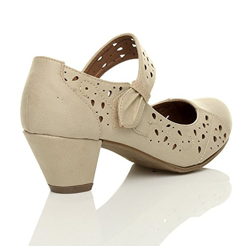 Femmes talon moyen babies découper chaussures richelieu escarpins pointure Beige mat