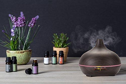 Wasserstein diffusore di aromi, mini umidificatore con luci a led che cambiano colore, colore: legno scuro con venature