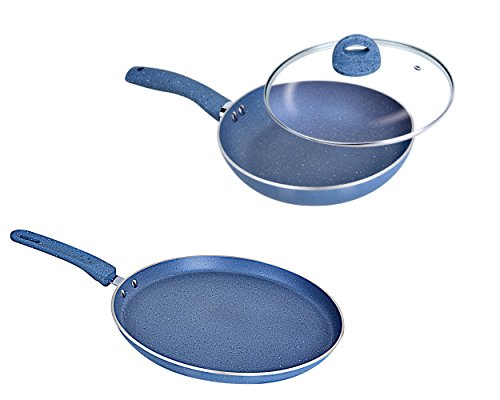 Induction Friendly Kitchen 3 Piece Cookware Set With Glass Lid Dosa Tawa 28cm Fry Pan 1.5 liter  available at amazon for Rs.1519