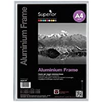 Seco A4 Brushed Aluminium Picture Frame with Perspex Safety Glass - Silver