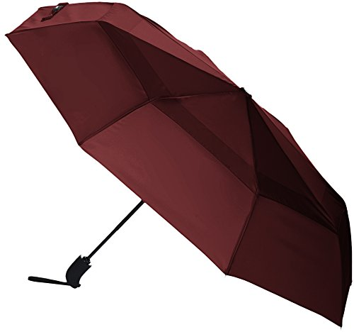 AmazonBasics - Regenschirm mit Windfang, Rot