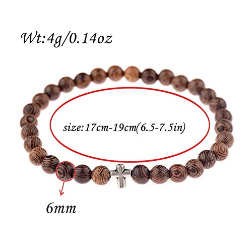 LINWEN Armband Natürliche Holzperlen Kreuz Hand Perlen Armband Damen Holz Yoga Schmuck Männer - Holz Geschnitzt Shell