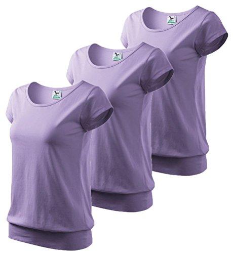 Dress-O-Mat Damen 3er Pack T-Shirt Shirt Rundhals Bund lavandel lila