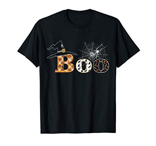 Kostüm Boo Frauen - Boo Hexe Hut Spider Ghost Candy Kürbis Halloween Hemd