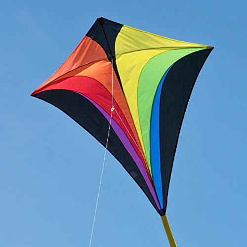 CIM Großer Kinder-Drachen - Eddy XL Rainbow MUSTHAVE - Einleiner Flugdrachen für Kinder ab 6 Jahren - 90x100cm - inkl. 80m Drachenschnur und Streifenschwänze