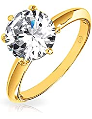 Bling Jewelry 925 Silver or vermeil Solitaire 3,5 ct nuptiale CZ bague de fiançailles