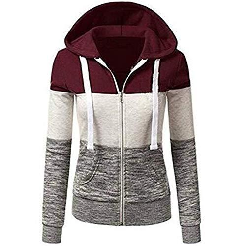 Newbestyle Damen Casual Color Block Jersey Full Zip Fleece Hoodie Jacke mit Kängurutasche - rot - X-Groß -