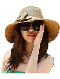 SMO cap Mme chapeau de tendance surdimensionné dame arc de tempérament pliage chapeau de plage grand chapeau de paille à larges bords (463)