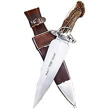 Cuchillo de remate Muela Podenco PODENCO.E, puño con asta de ciervo, presentado en estuche de madera, hoja de acero inoxidable MOVA de 24,5 cm + tarjeta multiusos de regalo