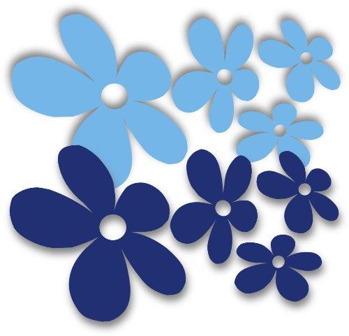 Waschstrassenfest Autoaufkleber Blumen - Mixed Flower 3 licht/ blau - oder Wandtattoo selbstklebende Aufkleber fürs Auto, Blumensticker Wandsticker Out- & Indoor, Wandbild & Fensterbild wählen Sie aus 32 Farben! (Blaue Blume-lichter)