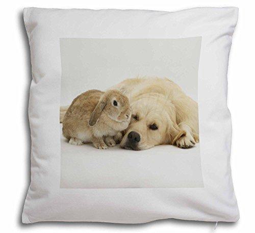 Golden Retriever und Kaninchen weicher Samt Gefühl Kissenhülle mit Kissen