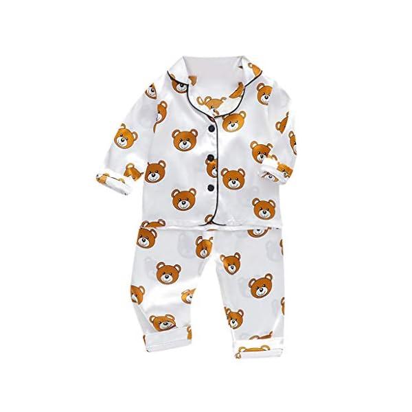 Conjunto de Trajes de niños pequeñosNiño Bebé Niños Manga Larga Dibujos Animados Oso Tops + Pantalones Pijamas Ropa de… 1