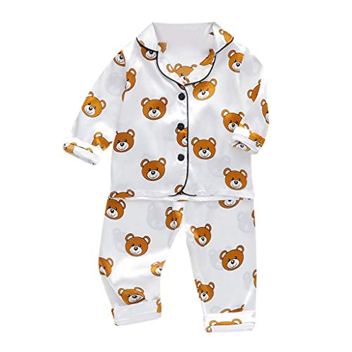 i-uend Baby Kleidung Jungen Mädchen Strampler Neugeborenen Overall Kleinkind Baby Jungen Langarm Cartoon Bär Tops + Hosen Schlafanzug Nachtwäsche Outfits