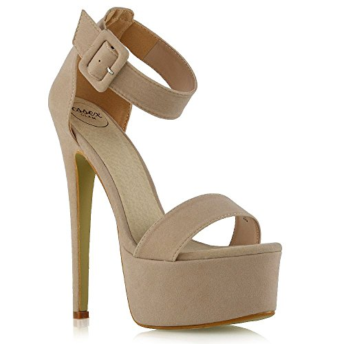 ESSEX GLAM Damen Fesselriemen Offener Zeh Stiletto-Absatz Hautfarbe Wildlederimitat Plattform Party Schuhe EU 37