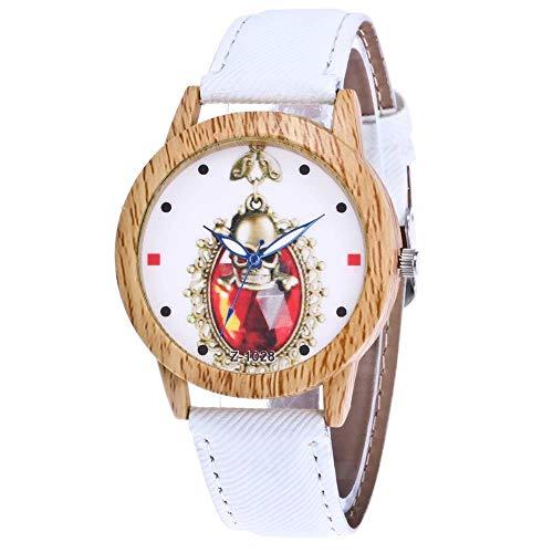 Pangding Quarzuhr, Retro-Halloween-Muster Runde Zifferblatt Analoganzeige Armbanduhr(Weiß) -