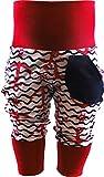 KLEINER FRATZ Baby Kinder Pumphose Hose Mädchen Babyhose Jungen Pants (128-140, Anker rot/Welle Navy/Bund rot)