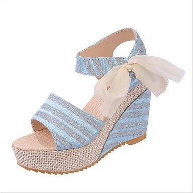 LvYuan Da donna-Sandali-Ufficio e lavoro Formale Casual-Comoda Club Shoes-Zeppa-PU (Poliuretano)-Nero Blu Bianco Beige Black