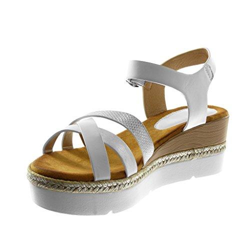 Angkorly Chaussure Mode Sandale Mule Lanière Cheville Plateforme Semelle Basket Femme Multi-Bride Strass Diamant Tréssé Talon Compensé Plateforme 6.5 cm Blanc