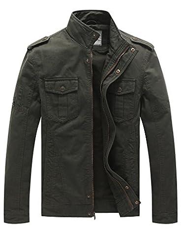 WenVen Homme Blouson en Coton Léger Automne Veste Militaire Style