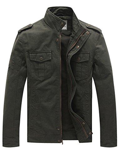 Wenven Herren Casual Militär Baumwolle Leichte Windbreaker Jacke Armeegrün Large