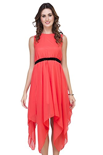 ISHIN Solid Women's Georgette Red Cocktail Party Wear Sleeveless Western Dress