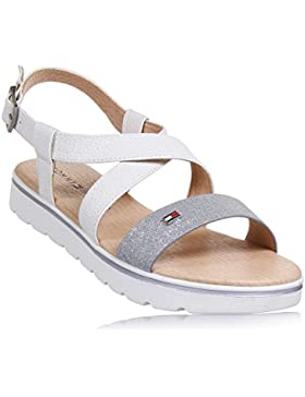 Tommy Hilfiger T3A2-00136-0063 White Leather Junior Strap Sandals